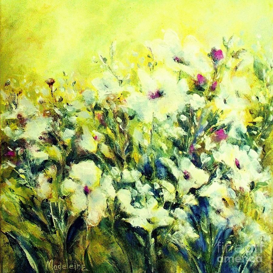 White Poppy Garden Painting By Madeleine Holzberg