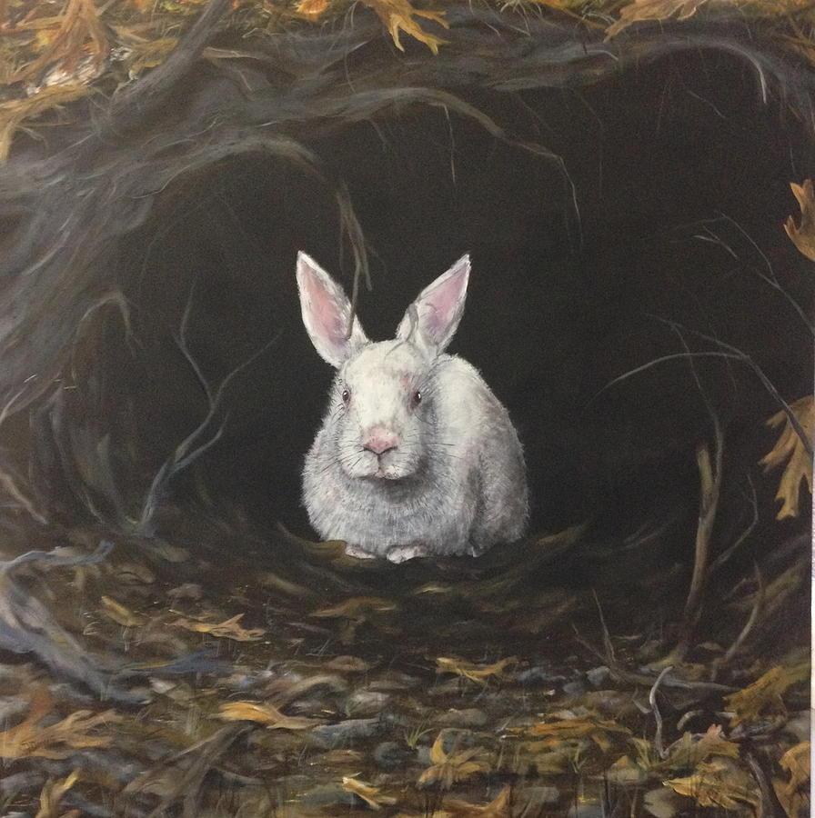 White Rabbit Painting by Chet Davis