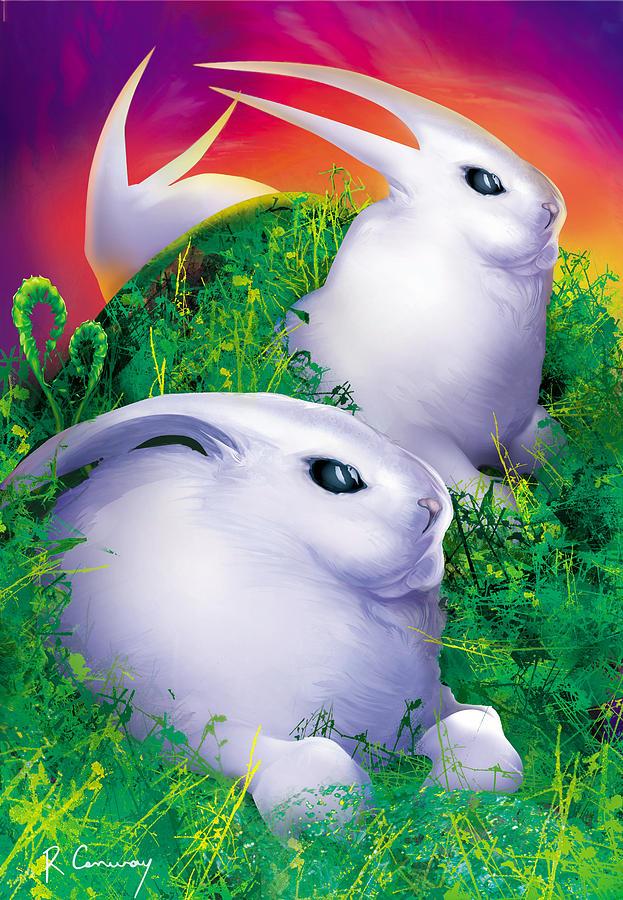Rabbits Digital Art - White Rabbits by Robert Conway