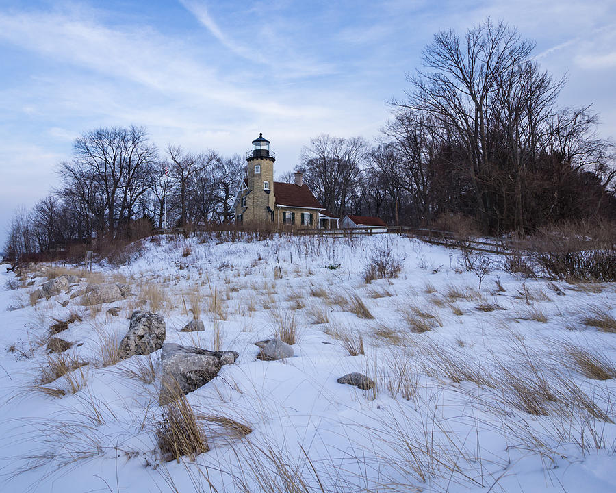 White River Lighthouse In Winter Photograph by Kimberly Kotzian