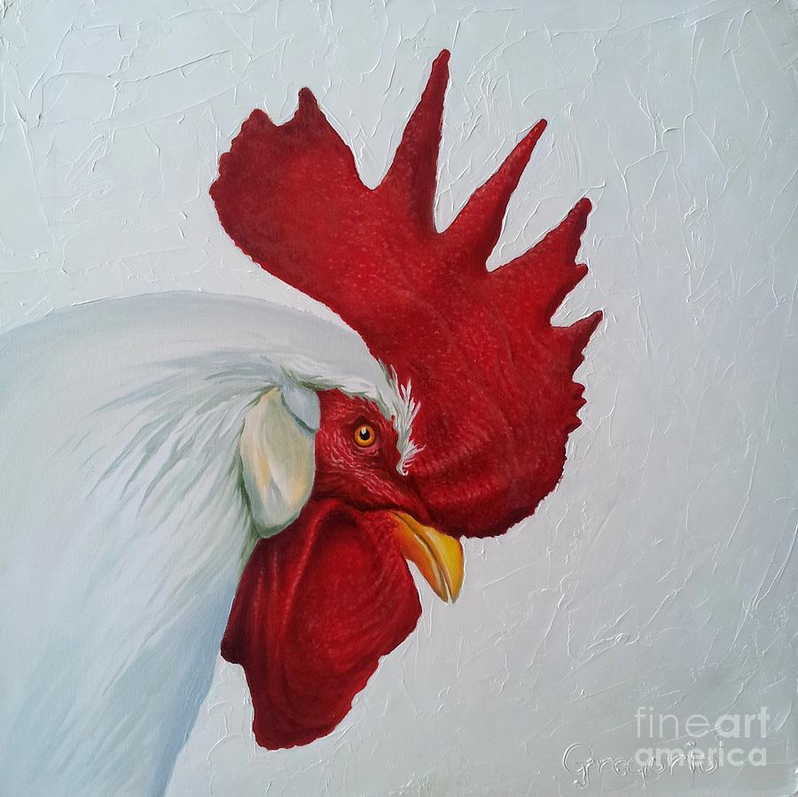 white rooster painting by gene gregorio