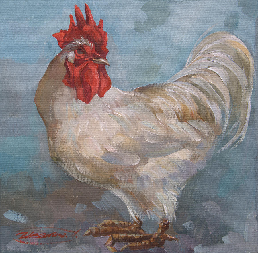 white rooster painting by larisa ivakina clevenger