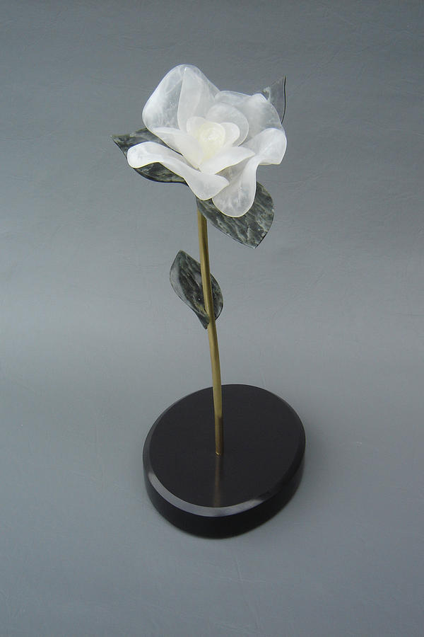 Flower Sculpture - White Rose by Leslie Dycke