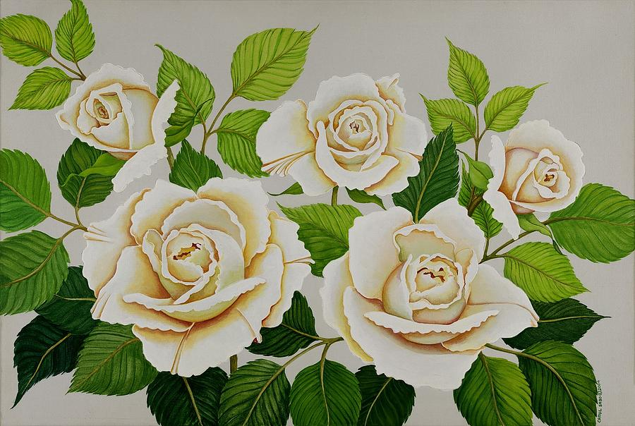 Rose Painting - White Roses by Carol Sabo