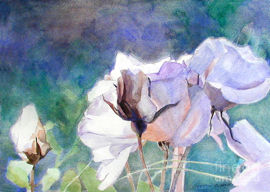 White Roses in the Shade by Greta Corens