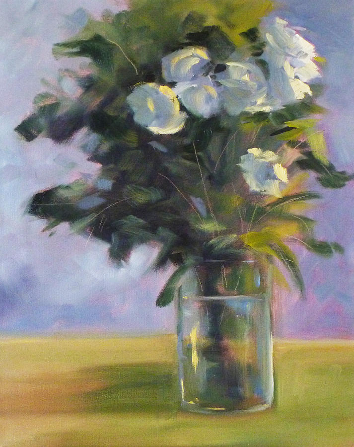 White Painting - White Roses by Nancy Merkle