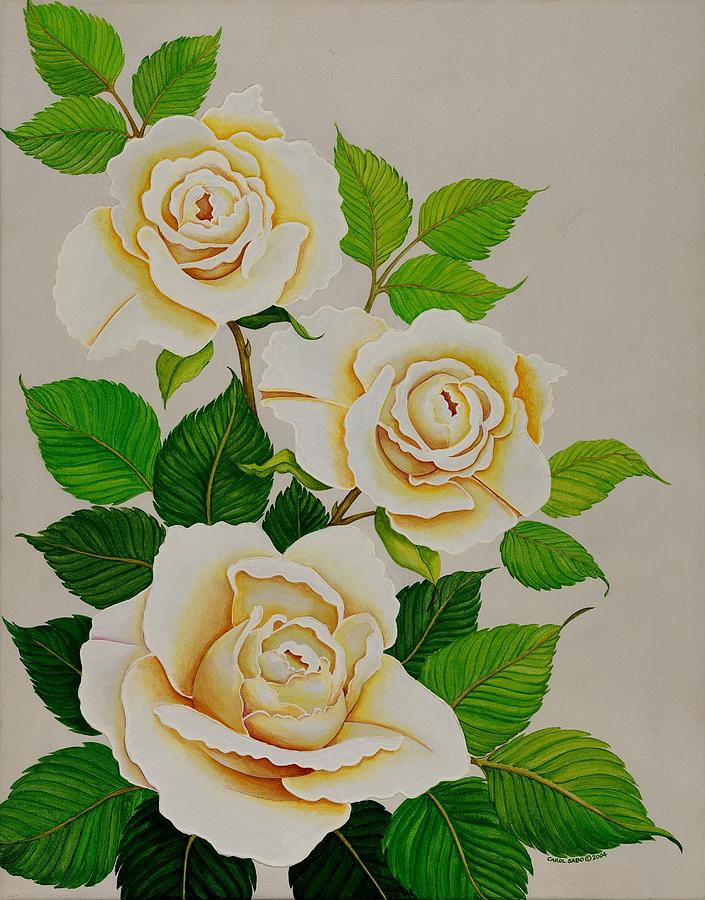 White Roses - Vertical Painting by Carol Sabo
