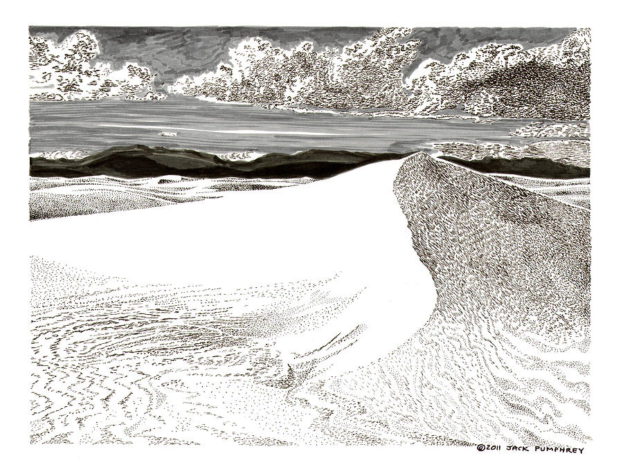 White Sands New Mexico Drawing by Jack Pumphrey