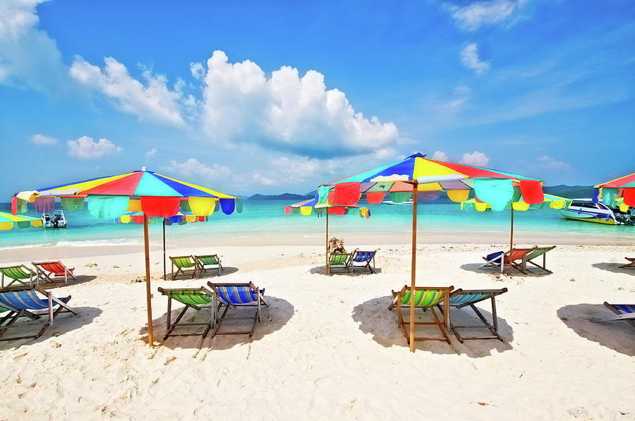 White Sandy Beach With Chairs And Photograph by Aleksandargeorgiev
