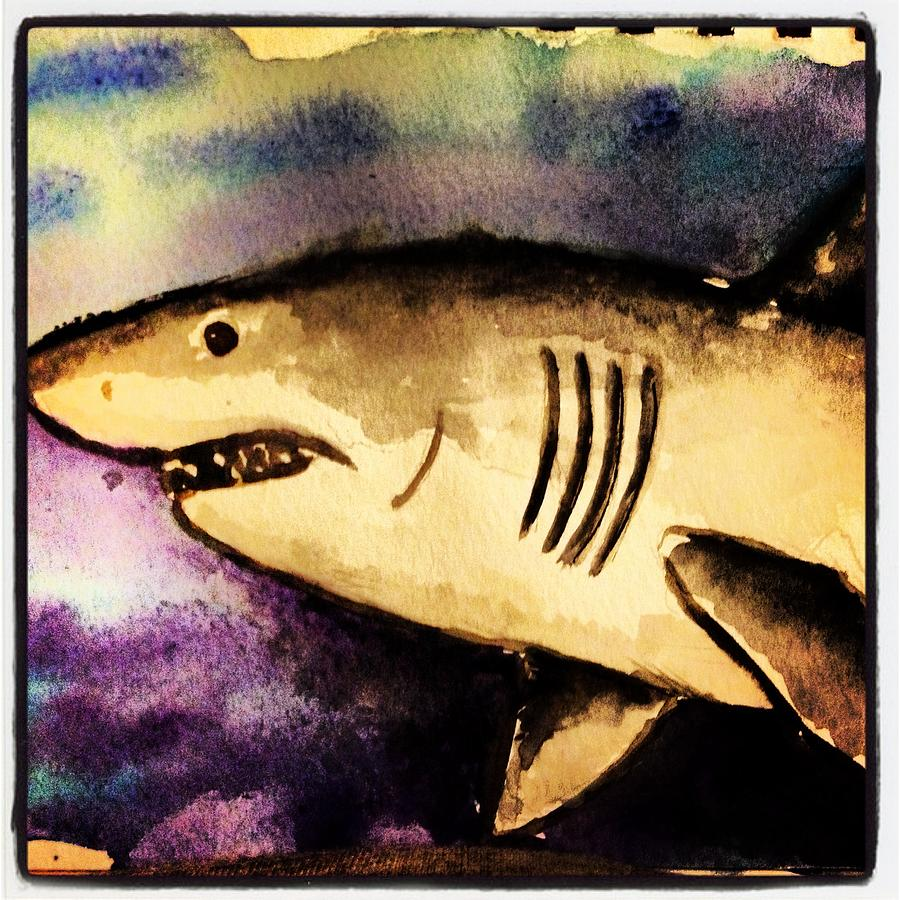 white shark painting by dave wilson
