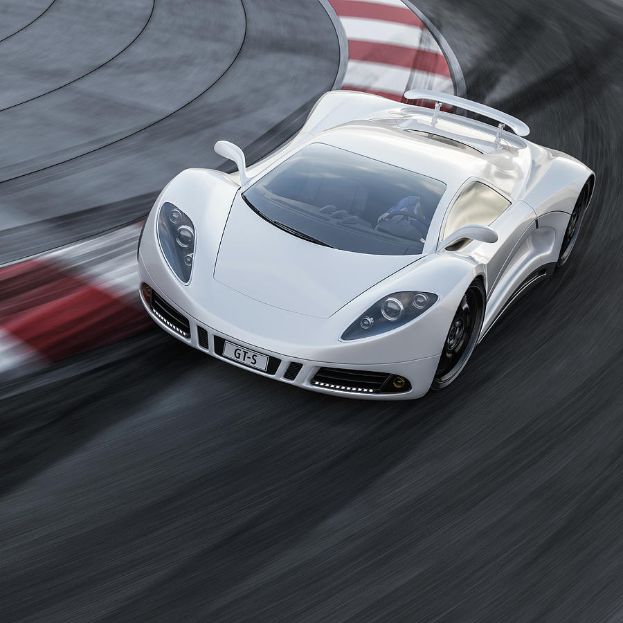 White Sports Car On A Racetrack Photograph by Mevans