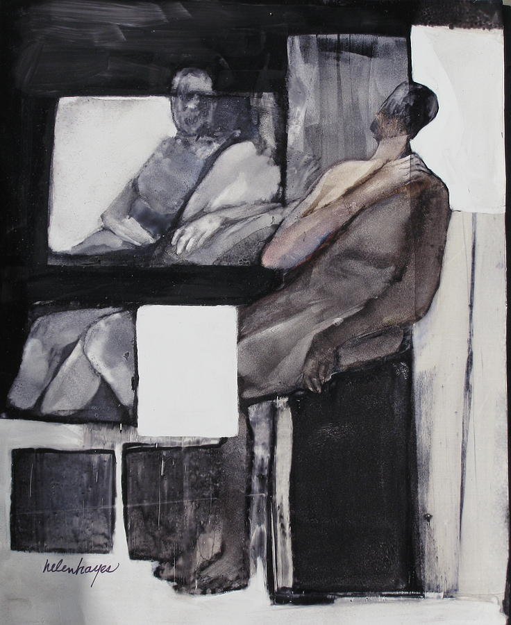 Figures Painting - White Square by Helen Hayes