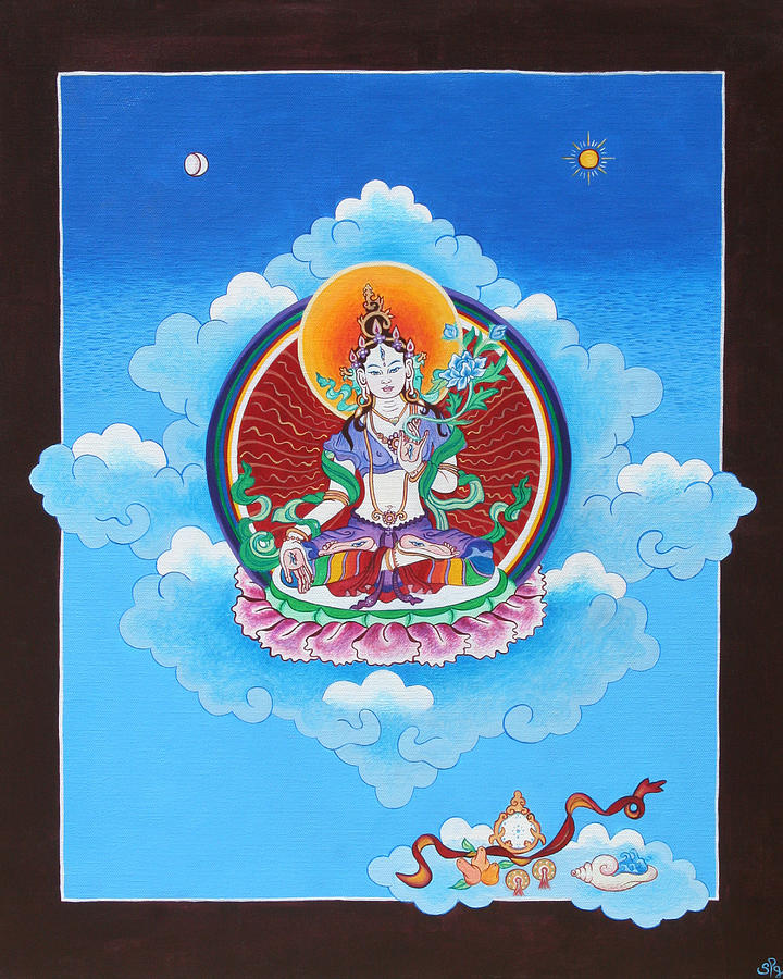 Compassion Painting - White Tara by Sarah Grubb