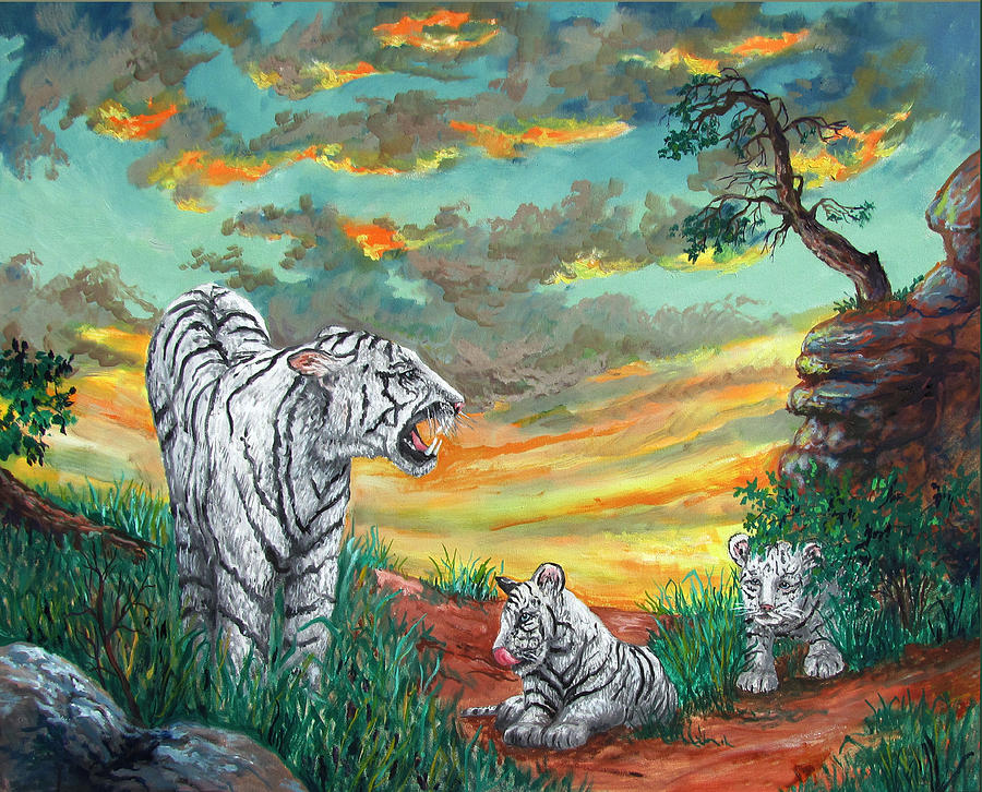 White Tiger Family Painting By Philip Lee