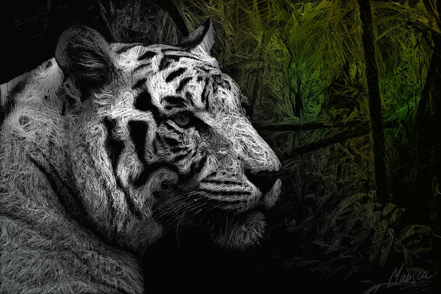 White Tiger Drawing - White Tiger by Marina Likholat