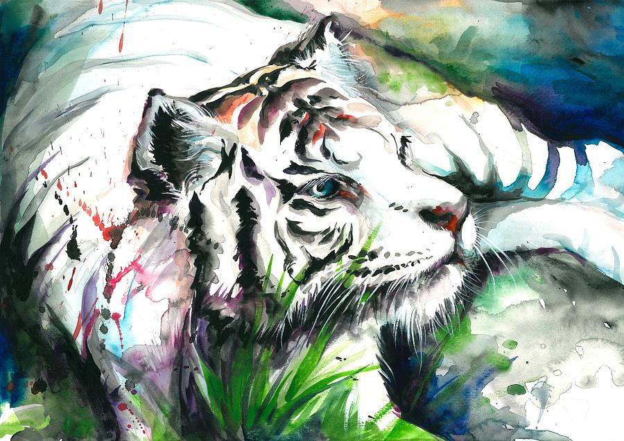 White Tiger Watercolor Art Print Painting