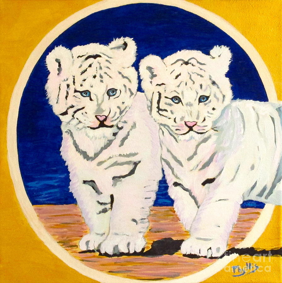 White Tiger Cubs Painting - White Tiger Twins by Phyllis Kaltenbach