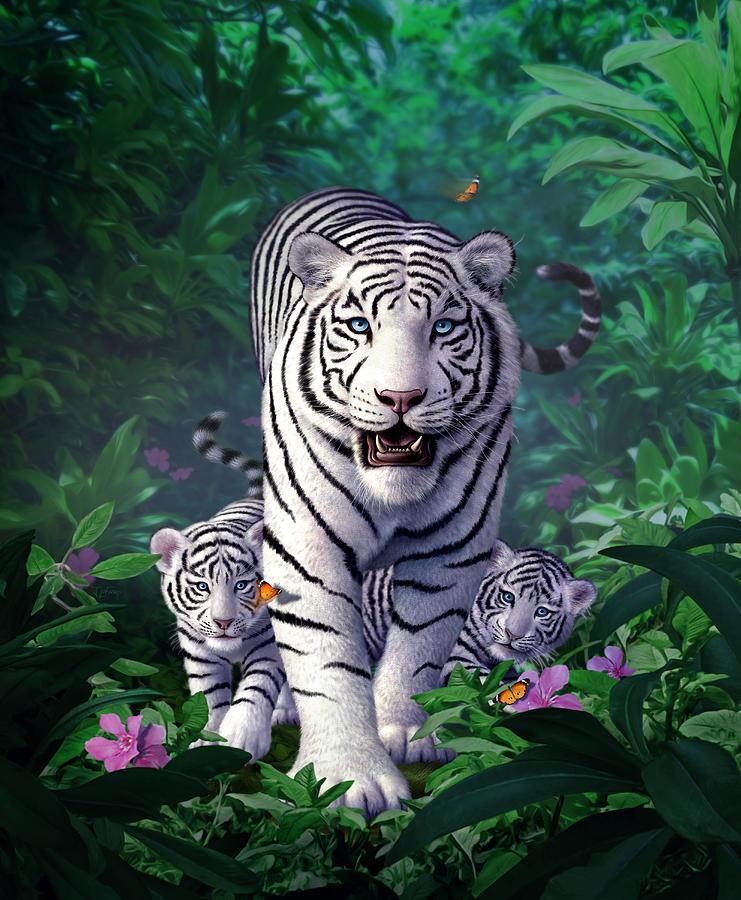 White Tigers Digital Art - White Tigers by Jerry LoFaro