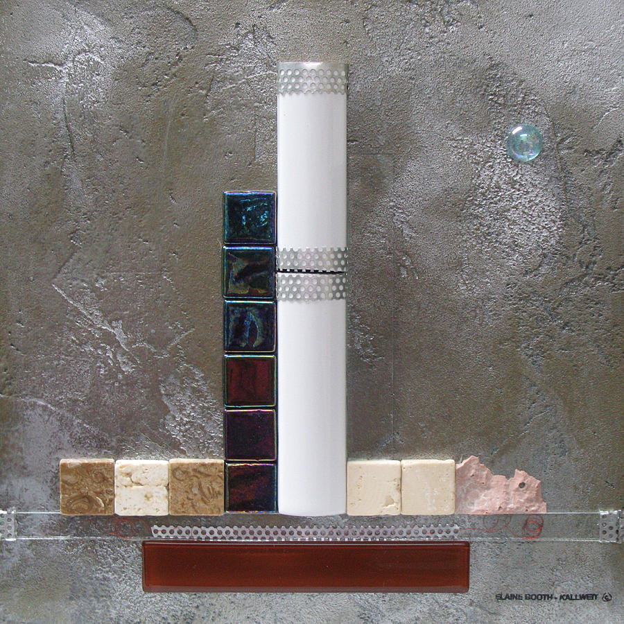 Assemblage Relief - White Tower by Elaine Booth-Kallweit