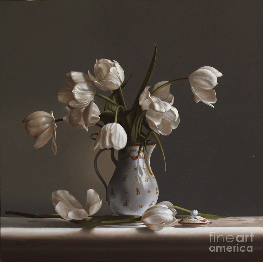 Tulips Painting - White Tulips by Larry Preston
