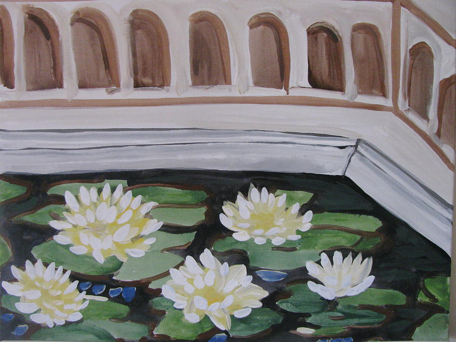 Water Painting - White Water Lilies by Vikram Singh