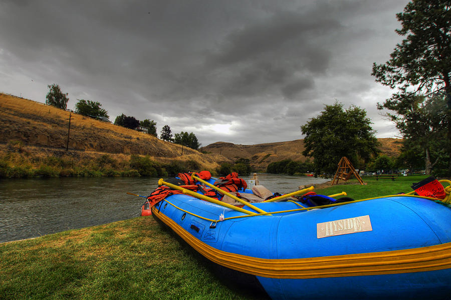 Raft Photograph - White Water Rafting Boat by David Gn