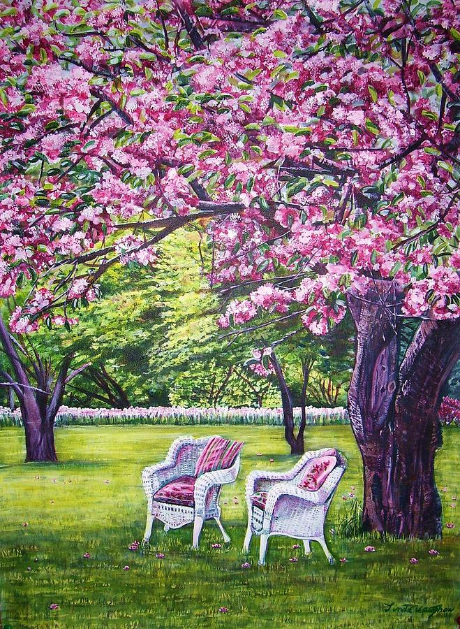 Chairs Outside Painting - White Whicker Chairs by Linda Vaughon