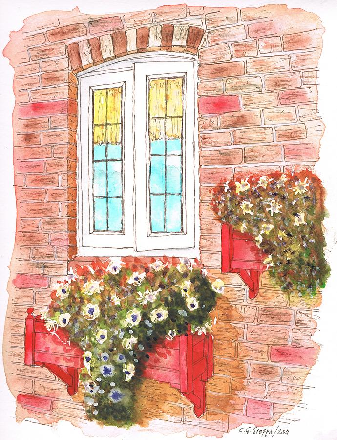 Watercolor Painting - White Window by Carlos G Groppa