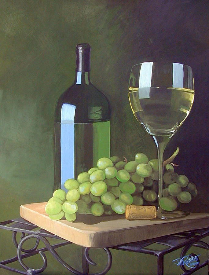 White Wine And Grapes Painting By Jill Roberts
