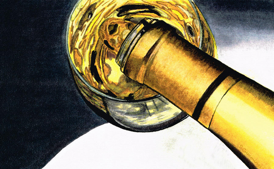 Wine Painting - White Wine Art - Lap Of Luxury - By Sharon Cummings by Sharon Cummings