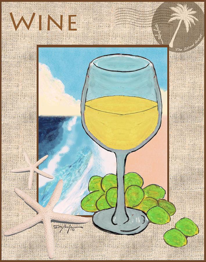 Wine Mixed Media - White Wine Beachside by William Depaula