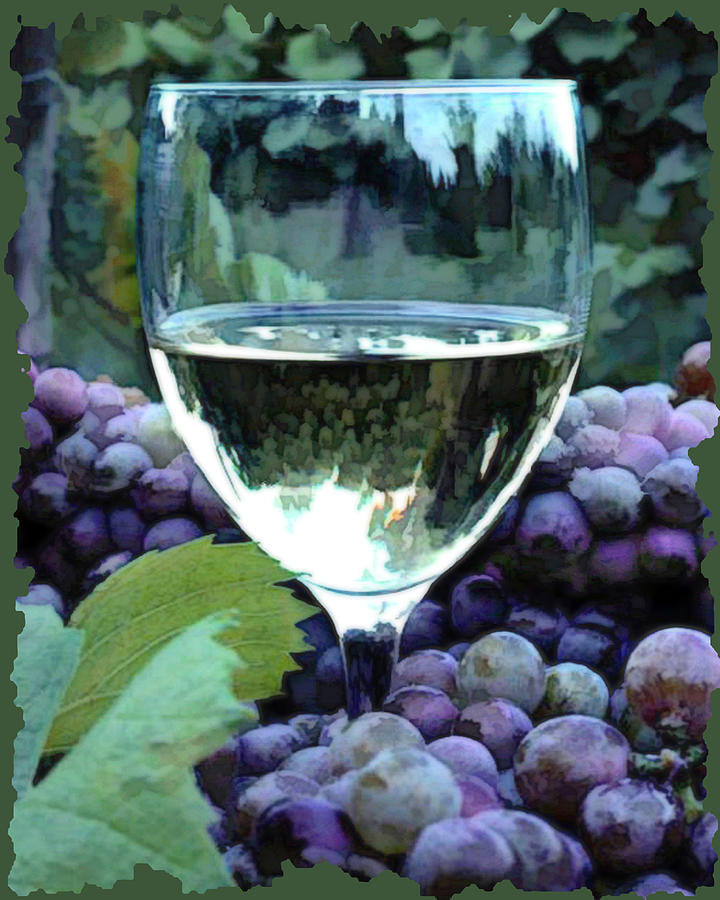 Wine Painting - White Wine Reflections by Elaine Plesser