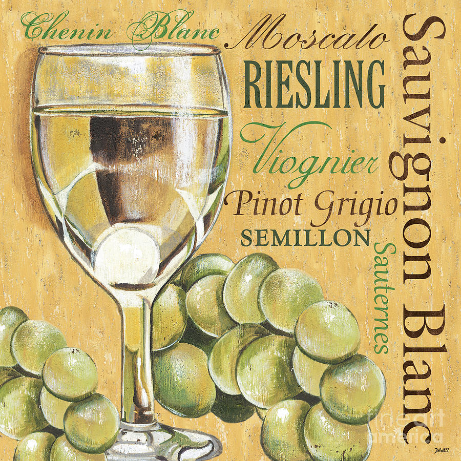 Wine Painting - White Wine Text by Debbie DeWitt
