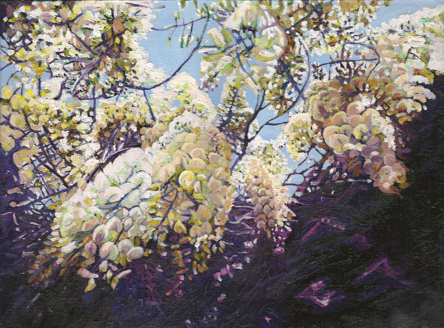 Wisteria Painting - White wisteria by Helen White