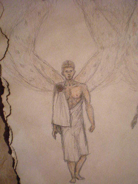Angel Drawing - White Wolf Character 1 by Steve Spagnola