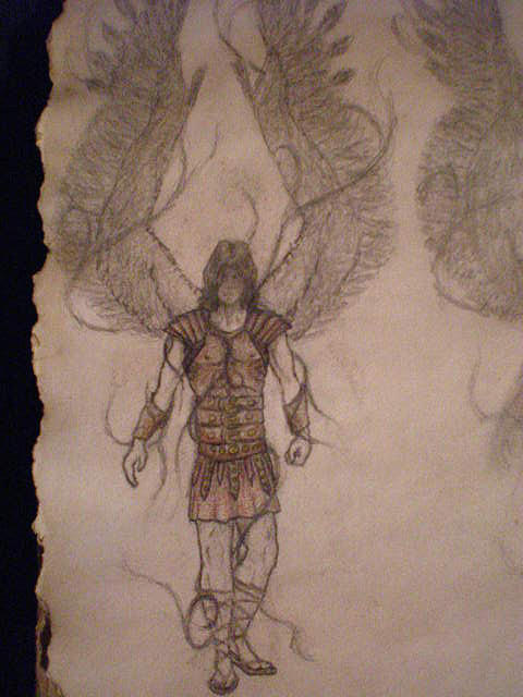 Angel Drawing - White Wolf Character 2 by Steve Spagnola