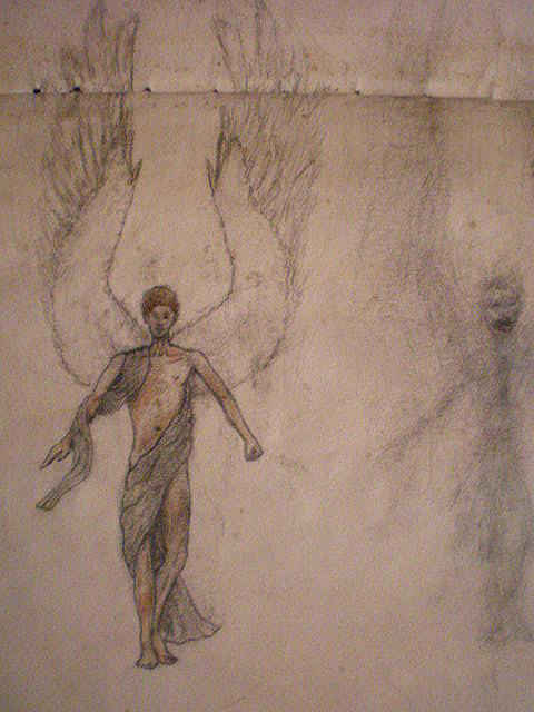 Angel Drawing - White Wolf Character 3 by Steve Spagnola