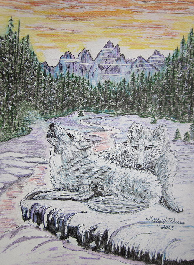 White Wolves Painting - White Wolves by Kathy Marrs Chandler
