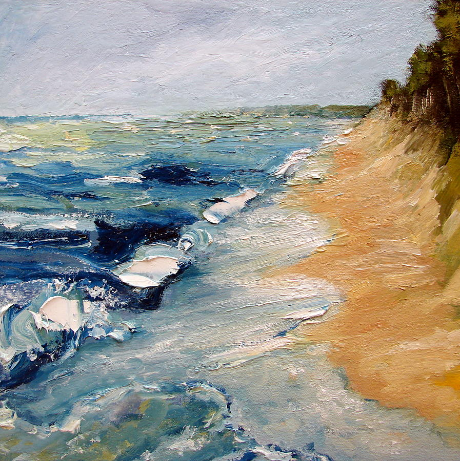 Whitecaps Painting - Whitecaps On Lake Michigan 3.0 by Michelle Calkins