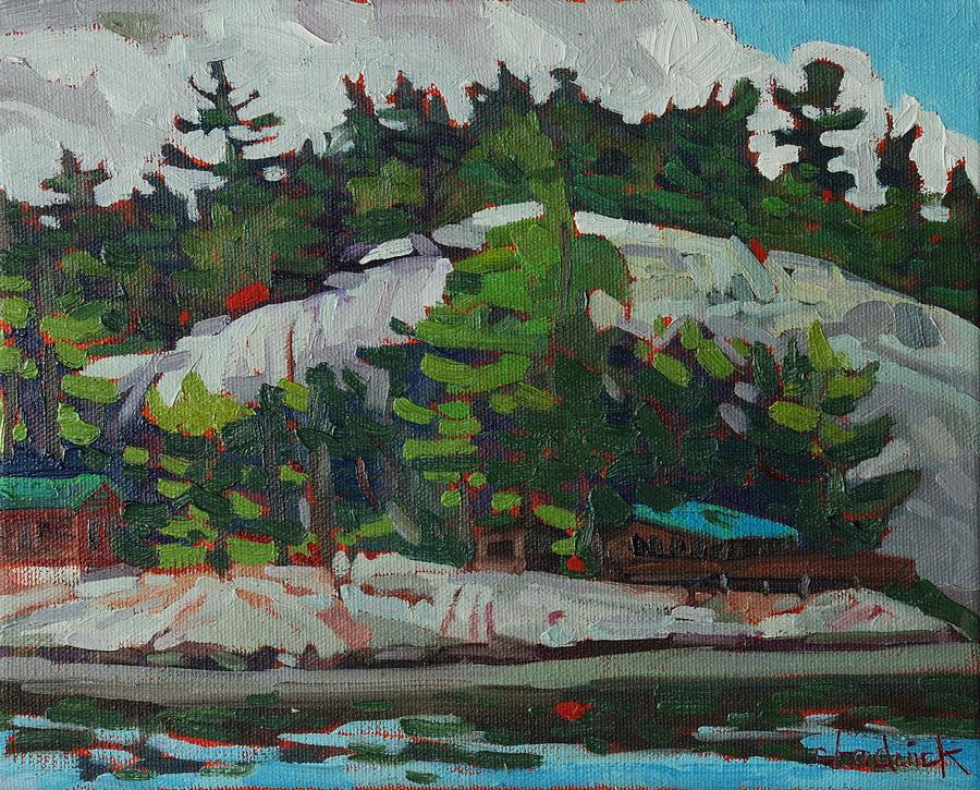 Whitefish Painting - Whitefish River Cottages by Phil Chadwick