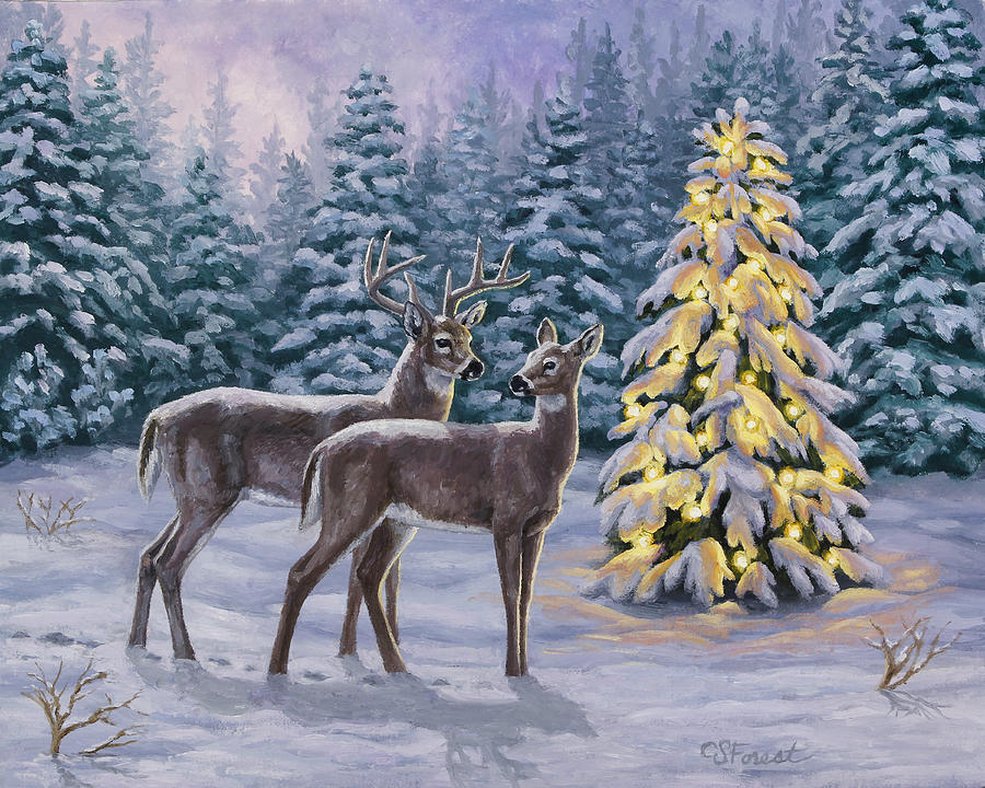 Deer Painting - Whitetail Christmas by Crista Forest