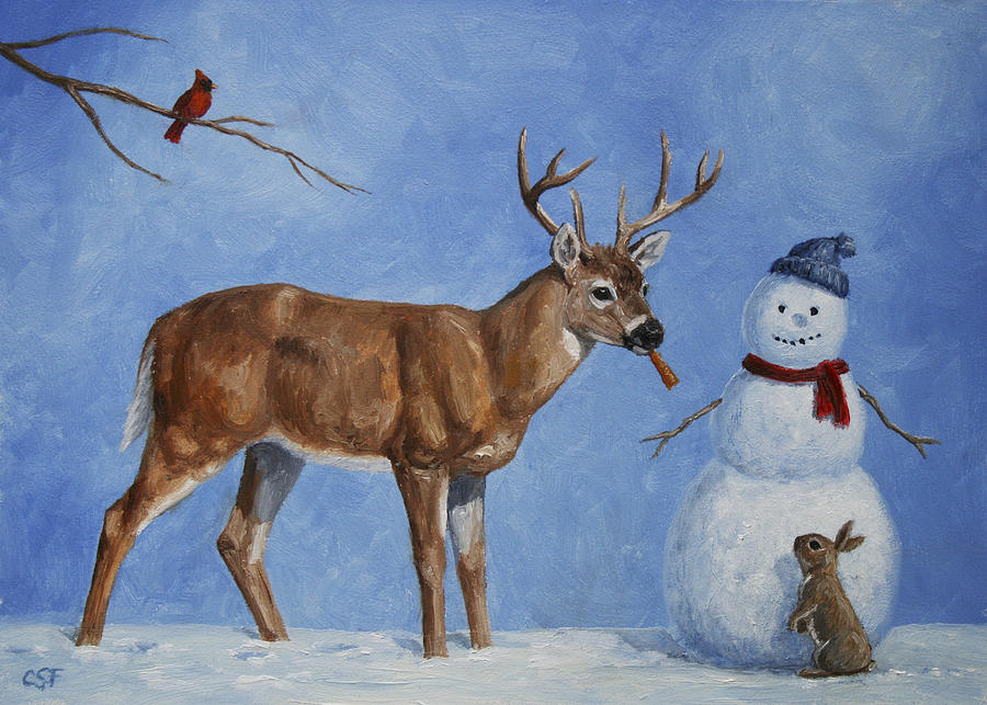 Christmas Painting - Whitetail Deer And Snowman - Whose Carrot? by Crista Forest