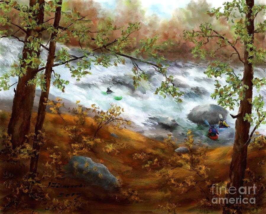 Whitewater Kayaking Painting - Whitewater Kayaking by Judy Filarecki