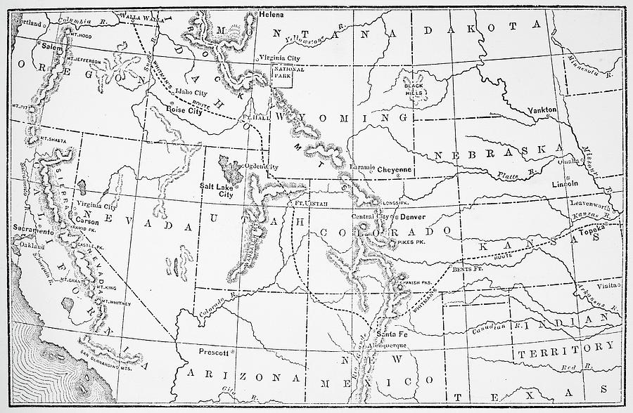 1843 Drawing - Whitmans Route by Granger