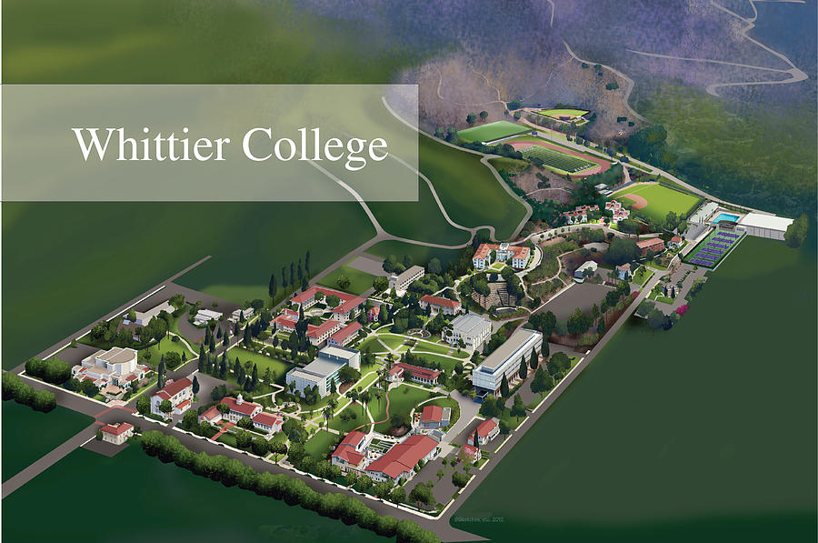 Whittier College Painting - Whittier College by Rhett and Sherry  Erb