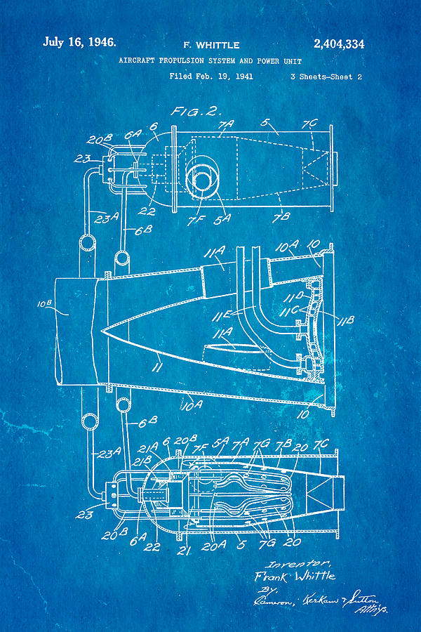 Whittle jet engine patent art 2 1946 blueprint photograph by ian monk aviation photograph whittle jet engine patent art 2 1946 blueprint by ian monk malvernweather Image collections