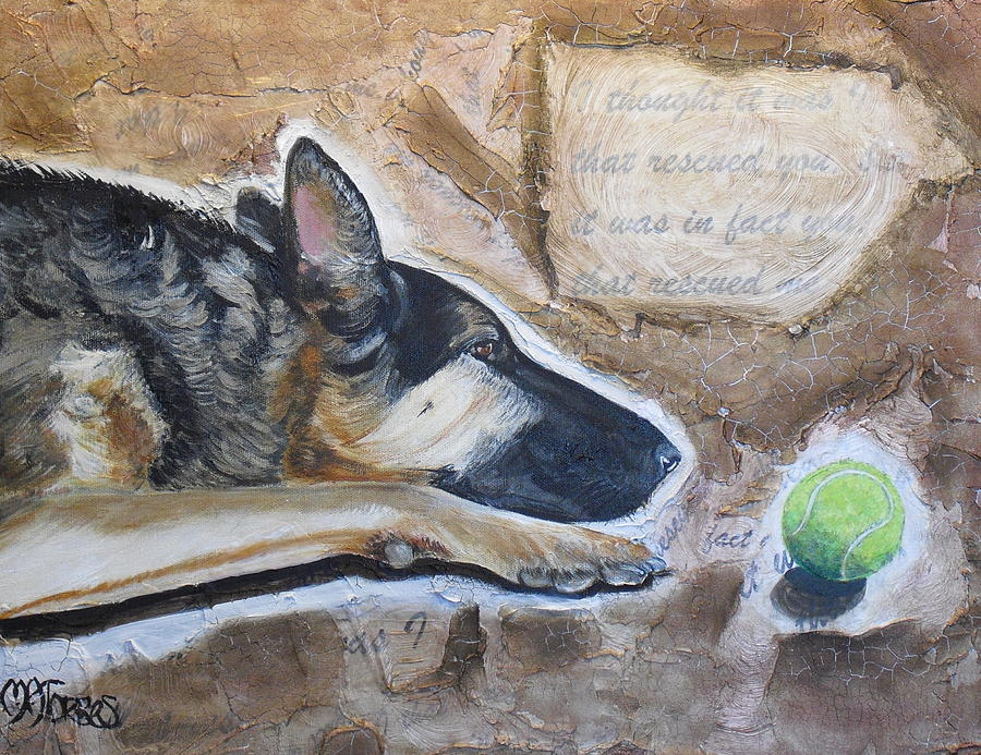 Dogs Painting - Who Rescued Who by Melissa Torres