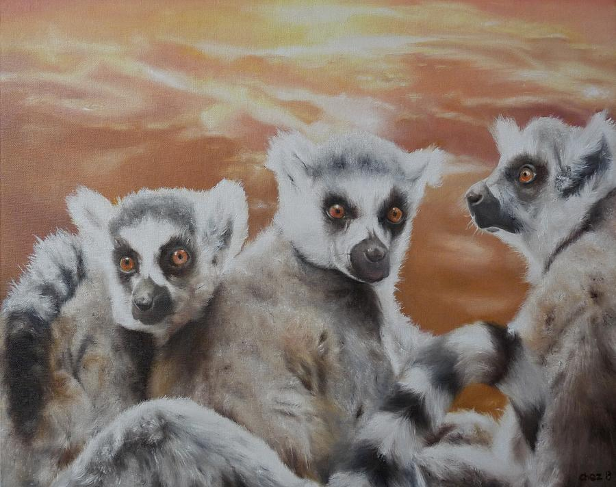 Lemur Painting - Who What Where by Cherise Foster