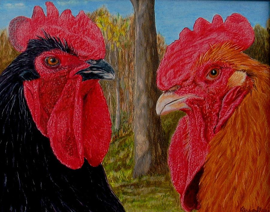 Roosters Painting - Who You Calling Chicken by Karen Ilari