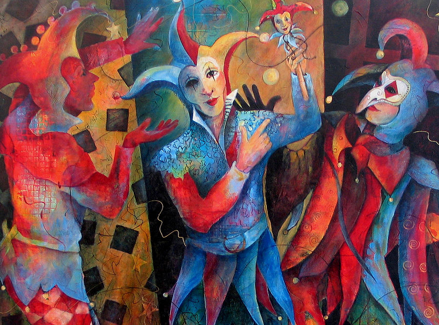 Jesters Painting - Whos The Fool. by Susanne Clark